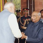 The President  Shri Ram Nath Kovind being received by the Prime Minister  Shri Narendra Modi at Parliament House in New Delhi on January 31, 2019.